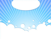Blue sky. Vector illustration of clouds on beautiful bright blue horizon. Background. Decorative concept Stock Photo