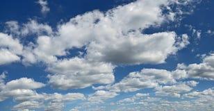 Blue sky. High fluffy clouds on high sky Royalty Free Stock Photos