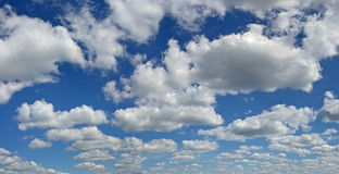 Blue sky. High fluffy clouds on high sky Royalty Free Stock Image