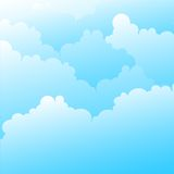 Blue sky. Vector Clouds on beautiful bright blue horizon. Cloudscape Royalty Free Stock Photo