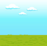 Blue sky. Clouds and green grass Royalty Free Stock Photo