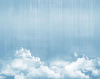 Blue sky above clouds. Grunge background Stock Photo