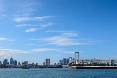 Blue sky above Rainbow bridge in Tokyo ,Japan Royalty Free Stock Photo