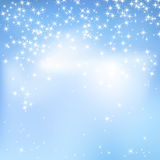 Blue sky abstract background with clouds and stars. Magical New Year, Christmas event style background. Blue sky abstract background with clouds and stars stock illustration