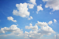 Blue sky against clouds beautiful background. Royalty Free Stock Photography