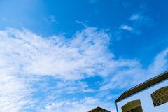 Blue sky and air white clouds background stock image