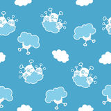 Blue sky aliens. Blue seamless pattern with aliens hiding behind the clouds Stock Image