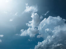 Blue sky with amazing clouds background. Shape independent of the Skies, Elements of nature, Beautiful sky with white clouds.  Royalty Free Stock Image