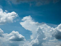 Blue sky with amazing clouds background. Shape independent of the Skies, Elements of nature, Beautiful sky with white clouds Royalty Free Stock Photos