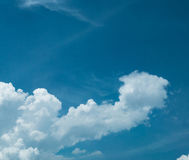 Blue sky with amazing clouds background. Shape independent of the Skies, Elements of nature, Beautiful sky with white clouds.  Stock Photography