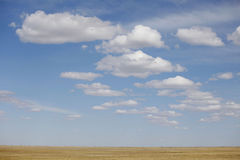 Blue sky Autumn prairie Royalty Free Stock Photo