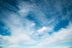 Blue sky background with clouds. Blue sky background with brush strokes clouds Royalty Free Stock Photo