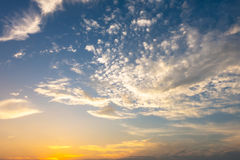 Blue sky background with cloud in evening time Stock Photos