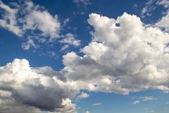 Blue sky background with clouds stock images