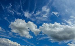 Blue sky background with clouds sunny day. Blue sky background with cloud closeup sunny day royalty free stock image