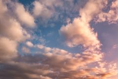 Blue sky background with evening fluffy curly rolling altocumulus altostratus clouds with setting sun. Good windy weather.  royalty free stock images