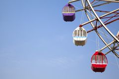 Blue Sky background and Ferris wheel. Clear Blue Sky backgroung and Ferris wheel Stock Photo