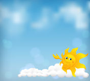 Blue sky background with funny cartoon sun Royalty Free Stock Photos