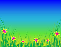 Blue Sky Background With Grass and Flowers. This is a bright vector illustration of green grass, yellow and pink flowers, and a bright blue gradient sky. There Royalty Free Stock Images