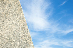 Blue sky background and marble granite stone with copy space Royalty Free Stock Images
