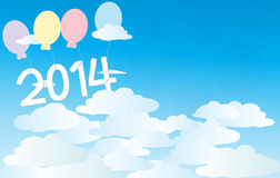 2014 blue sky. Background for 2014 new year Stock Photo