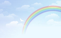 Blue sky background with rainbow and white dove Stock Photos