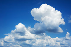 Blue sky background with soft cloud at day Stock Photos