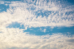 Blue sky background with sunlight. On evening stock images