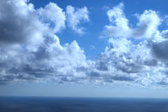 Blue sky background with tiny clouds Royalty Free Stock Photography