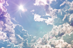 Blue sky background with tiny clouds Royalty Free Stock Image