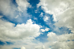 Blue sky background with a tiny clouds. Blue sky, Conceived Stock Photo