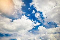 Blue sky background with a tiny clouds. Blue sky, Conceived Royalty Free Stock Images