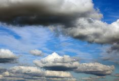 Blue sky background with white clouds closeup Stock Image