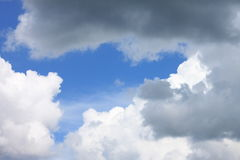 Blue sky background with white clouds closeup Royalty Free Stock Photos