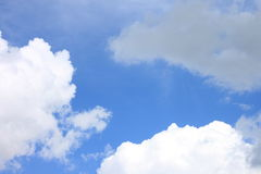 Blue sky background with white clouds closeup Royalty Free Stock Images