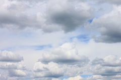 Blue sky background with white clouds closeup Royalty Free Stock Image