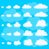 Blue sky background with white flat clouds Stock Image