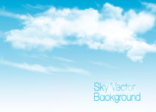 Blue sky background with white  transparent clouds. Stock Image