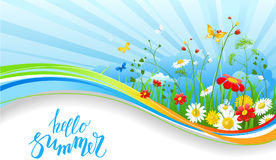 Blue sky banner. Summer or spring template for design banner, ticket, leaflet, card, poster and so on. Green grass and flowers scenery vector illustration
