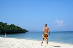 Blue sky beach boracay island philippines Royalty Free Stock Image
