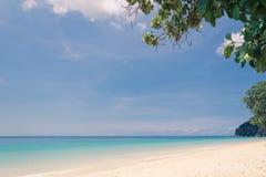 Blue sky with beach sea and leaf Stock Photos