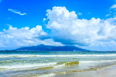 Blue sky and beach in vietnam Royalty Free Stock Photo