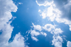 Blue sky with beautiful clouds. Blue sky with sun and beautiful clouds Stock Photo