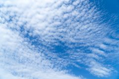 Blue sky with beautiful clouds. Background stock photography