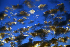 Blue sky, beautiful clouds. Sunset Royalty Free Stock Images