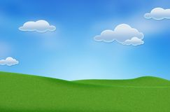 Blue sky and beautiful green field stock photo