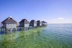 Blue sky and beautiful green sea view from mabul island Royalty Free Stock Images