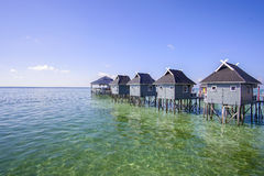 Blue sky and beautiful green sea view from mabul island Stock Images