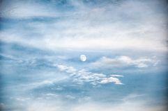 Blue sky with a beautiful moon Royalty Free Stock Photography