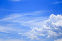 Blue sky. A beautiful and vivid sky with clouds Royalty Free Stock Images